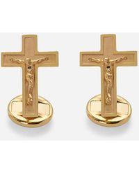 Dolce & Gabbana Sicily Yellow Gold Cufflinks Featuring A Cross - Mettallic