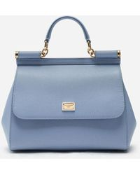 Dolce & Gabbana Medium Dauphine Leather Sicily Bag - Azul
