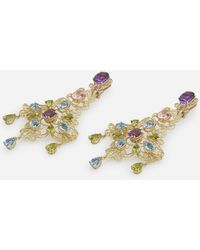 Dolce & Gabbana Pizzo Earrings In Yellow Gold Filigree With Amethysts, Aquamarines, Peridots And Morganites - Mettallic