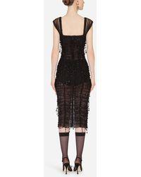Dolce & Gabbana Calf-Length Dress With Square Neckline - Negro