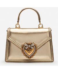 Dolce & Gabbana Small Devotion Bag In Nappa Mordore Leather - Mettallic