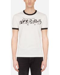 Dolce & Gabbana Cotton T-Shirt With Logo Print - Multicolore