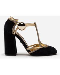 Dolce & Gabbana Velvet T-straps Shoes With Decorative Button - Black