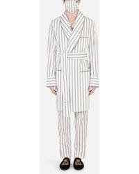 Dolce & Gabbana Vestaglia Con Mascherina Righe Doppie - Bianco