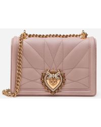 Dolce & Gabbana Small Devotion Crossbody Bag In Quilted Nappa Leather - Pink