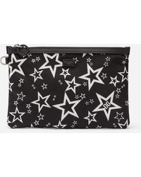 Dolce & Gabbana Millennials Star Clutch In Mixed Star Print Nylon - Black