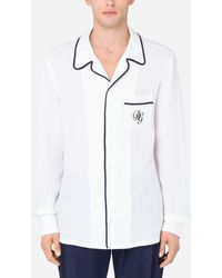 Dolce & Gabbana Linen Pyjama Shirt With Dg Embroidery - White
