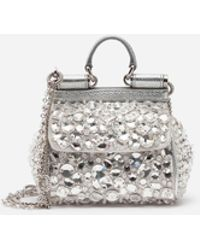 de44320abcd Lyst - Dolce & Gabbana Satin Rose Embellished Top Handle Bag, White ...