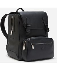 Dolce & Gabbana Palermo Backpack In Hammered Calfskin With Branded Plate - Schwarz