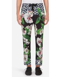 Dolce & Gabbana Linen JOGGING Pants With Orchid Print - Green