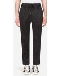 Dolce & Gabbana Floral Stretch Jacquard Jogging Pants - Nero