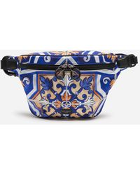 Dolce & Gabbana Nylon Fanny Pack With Maiolica Print - Blue