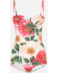 Dolce & Gabbana Camellia-print Balconette One-piece Swimsuit - Multicolour
