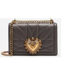 Dolce & Gabbana Medium Devotion Bag In Quilted Nappa Leather - Grigio