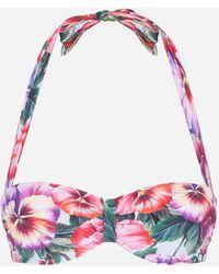 Dolce & Gabbana Gepolstertes Bandeau-Bikinitop Veilchen-Print - Mehrfarbig