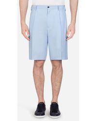 Dolce & Gabbana Bermuda Cargo Shorts In Linen - Blue