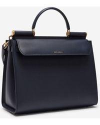 Dolce & Gabbana Large Calfskin Sicily 62 Bag - Blue