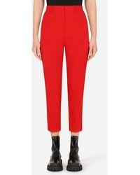 Dolce & Gabbana High-Waisted Woolen Tuxedo Pants - Rojo