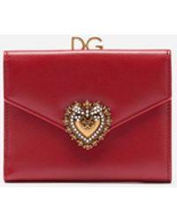 Dolce & Gabbana Portefeuille Devotion À Rabat En Cuir De Veau - Rouge