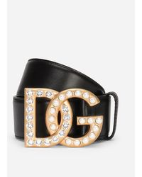Dolce & Gabbana Calfskin Belt With Dg Logo With Rhinestones And Pearls - Black