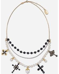 Dolce & Gabbana Family Necklace In Yellow And White Gold Black Sapphires - Mettallic