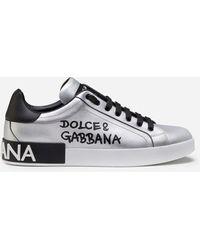 Dolce & Gabbana Metallic Calfskin Nappa Portofino Sneakers - Mettallic