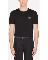 Dolce & Gabbana - Cotton T-shirt With Branded Plate - Lyst