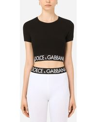 Dolce & Gabbana Cropped Jersey T-shirt With Branded Elastic - Black