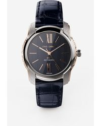 Dolce & Gabbana Dg7 Watch In Steel With Engraved Side Decoration In Gold - Blau
