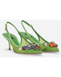 Dolce & Gabbana Mesh Slingbacks With Bejeweled Buttons - Green