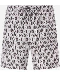 Dolce & Gabbana - Medium Swimming Trunks With Dg Net Print - Lyst