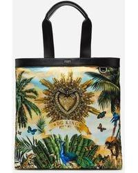 Dolce & Gabbana Nylon Shopper With Tropical King Print - Green