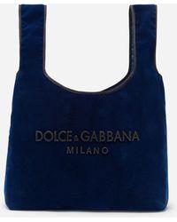 ea00b947f73c Dolce   Gabbana - Market Shopping Shoulder Bag In Velvet With Rubber Logo -  Lyst