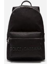 Dolce & Gabbana - Mochila Vulcano En Nailon Con Logotipo De Goma - Lyst