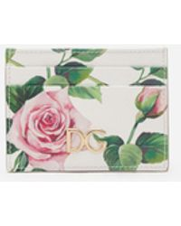 Dolce & Gabbana Porta Carte Di Credito In Vitello Dauphine Stampa Tropical Rose - Verde