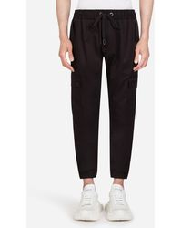 Dolce & Gabbana Stretch Cotton Jogging Pants With Bands - Schwarz