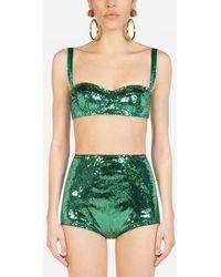 Dolce & Gabbana Sequined Semi-Padded Balconette Bra - Verde