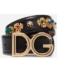 Dolce & Gabbana Cinturón De Cuero Lux Con Bordados - Negro