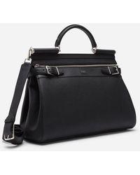 Dolce & Gabbana Sicily Work Bag In Calfskin - Negro