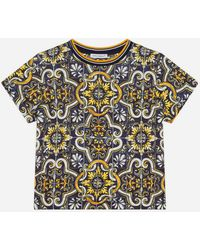 Dolce & Gabbana Jersey T-Shirt With Maiolica Print - Mehrfarbig