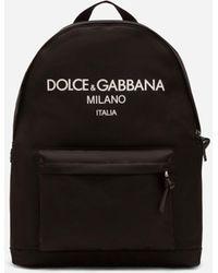 Dolce & Gabbana Rucksack Aus Nylon Mit Gummiertem Logo - Schwarz