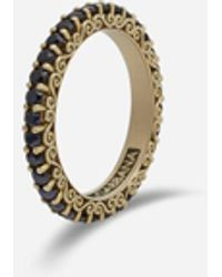 Dolce & Gabbana Sicily Ring In Yellow Gold And Black Sapphires - Mettallic