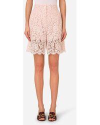 Dolce & Gabbana High-Waisted Lace Shorts - Rosa