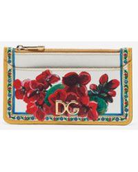 Dolce & Gabbana Credit Card Holder In Printed Dauphine Calfskin With Logo