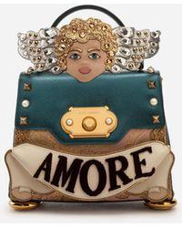 Dolce & Gabbana Mittelgroße Handtasche Welcome Aus Materialmix Mit 3D-Patch Und Stickerei - Mehrfarbig