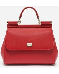 Dolce & Gabbana Medium Sicily Handbag In Dauphine Leather - Red