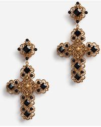Dolce & Gabbana Clip-On Drop Earrings With Crosses - Mettallic