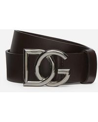 Dolce & Gabbana Leather Belt With Crossed Dg Logo - Brown