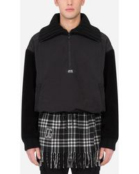Dolce & Gabbana Mixed-fabric Turtle-neck Sweatshirt With Patch - Black