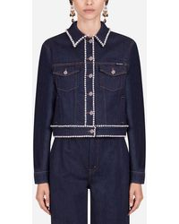 Dolce & Gabbana Denim Jacket With Rhinestone Details - Blue